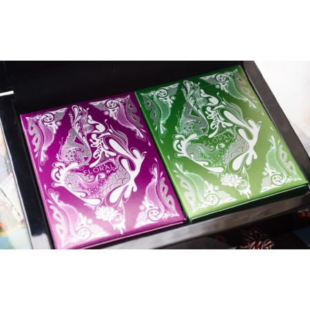 Purple & Green Floral Playing cards